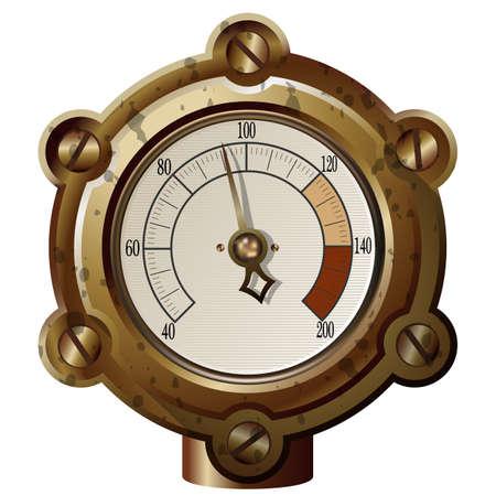 wijzerplaat: het meetapparaat in de steampunk stijl. Gradient mash