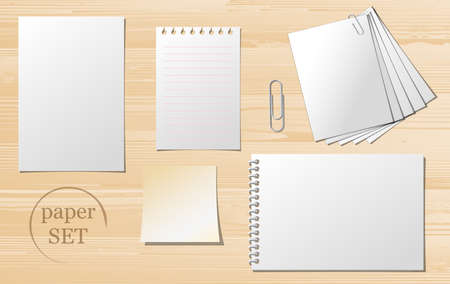 Set of paper sheets, lined paper and note - vector illustration. Vector