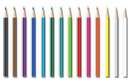 a set of colored pencils on white background Vector