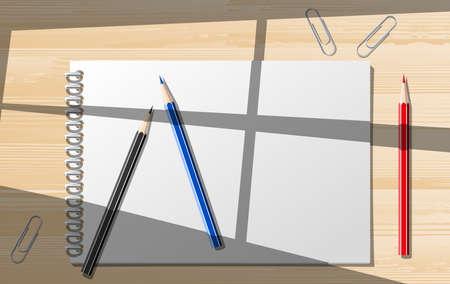 Paper notebooks con pensils. ilustraci�n de im�genes predise�adas