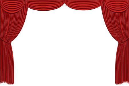mash: Rred drapes curtain  No mash no gradient  Vector Illustration