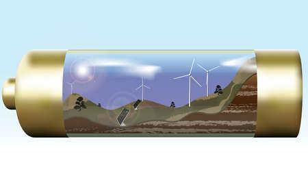 mash: landscape with wind turbines and solar panels, batteries inside. Gradient mash