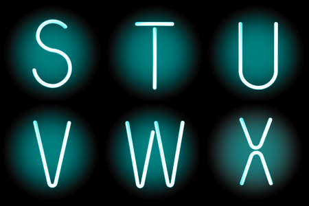 Vector mesh realistic letters of neon tubes. Gradient mash Vector