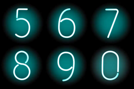 Vector mesh realistic numbers of neon tubes. Gradient mash Vector