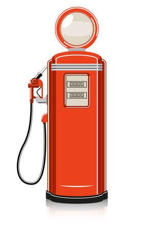 Retro Benzinepomp op een witte achtergrond. Vector Illustratie