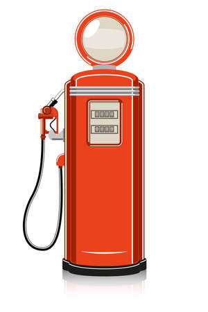 filling station: Retro Gas Pump on white background.