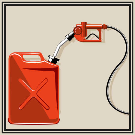 Gas pump nozzle and canister.  Vector
