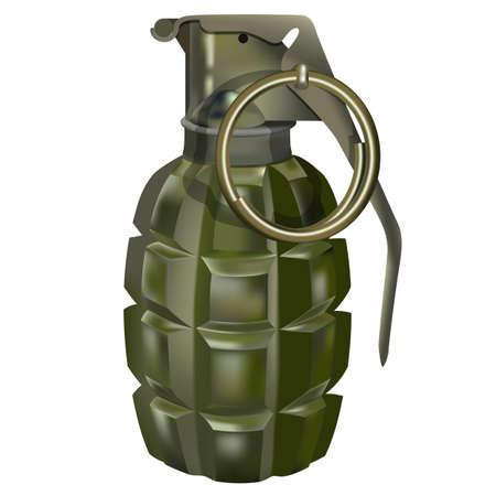 Green grenade on a white background. Gradient mash