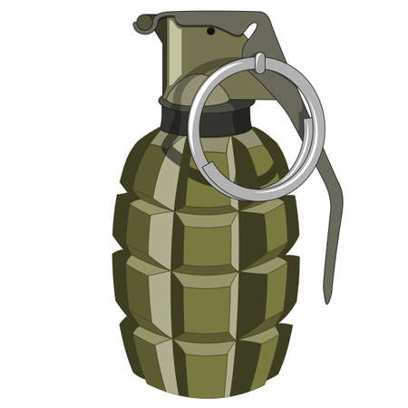 detonating: Green grenade on a white background. No mash no gradient Illustration