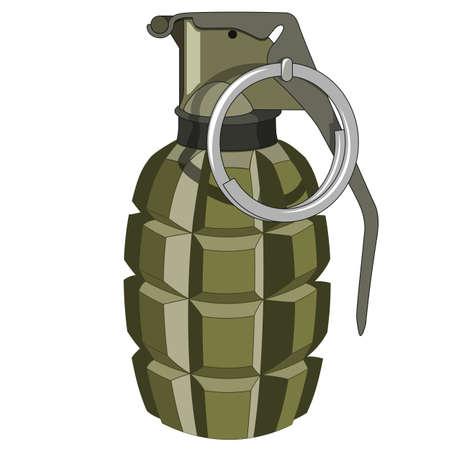 Green grenade on a white background. No mash no gradient Illustration