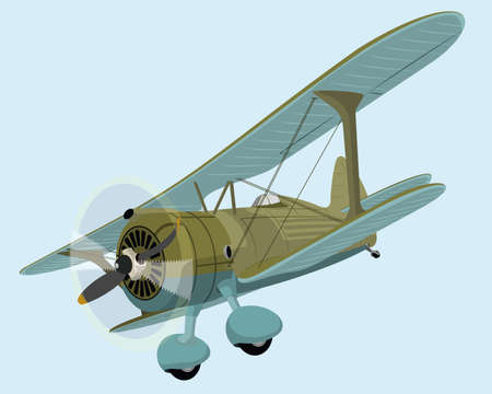 The old plane biplane. Vector illustration clip art