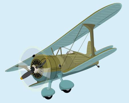 cartoon bomb: The old plane biplane. Vector illustration clip art
