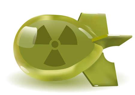 atomic bomb: 3D green glass atomic bomb. Vector. Gradient mash