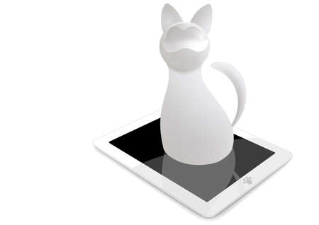 3d cat with tablet isolated on white background. gradient mash
