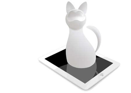 Gato 3d con la tableta aisladas sobre fondo blanco. mash gradiente Vectores