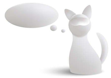3d white cat and a cloud of thoughts isolated on white background. Gradient mash Vector