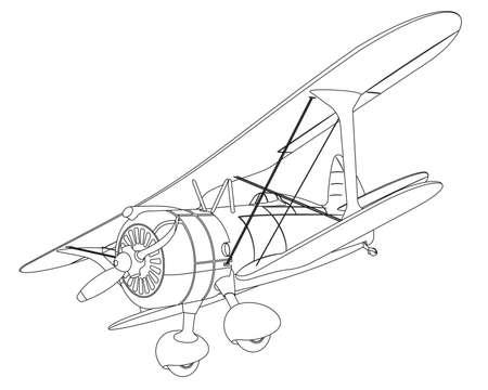 flight mode: plane drawing on white background. illustration clip art Illustration