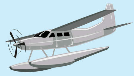 illustration seaplane. No mash no gradient.