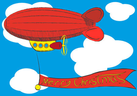 airship with Merry Christmas banner. Illustration clip art Vector