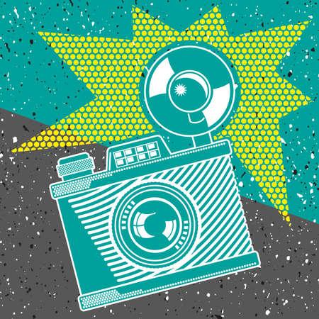 instant camera: Vintage camera poster background . Illustration clip art.