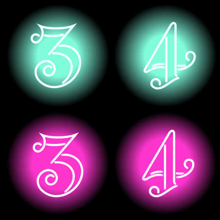 mash: Neon digits set. Illustration clip art. Gradient mash