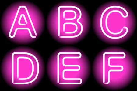 neon letters Vector