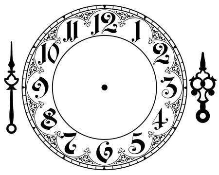 round face: vintage clock Illustration