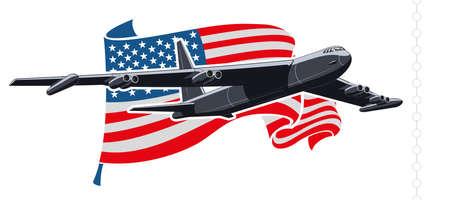 bomber plane: Bomber plane with american flag illustration