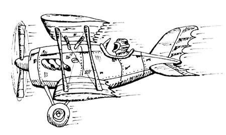 biplane cartoon Vector