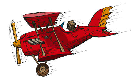 caricatura biplano Vectores