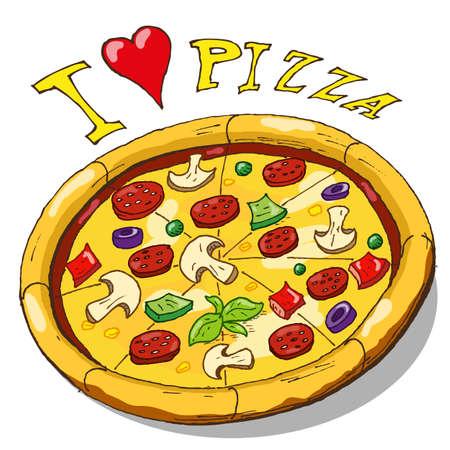 手の図面のピザ  イラスト・ベクター素材