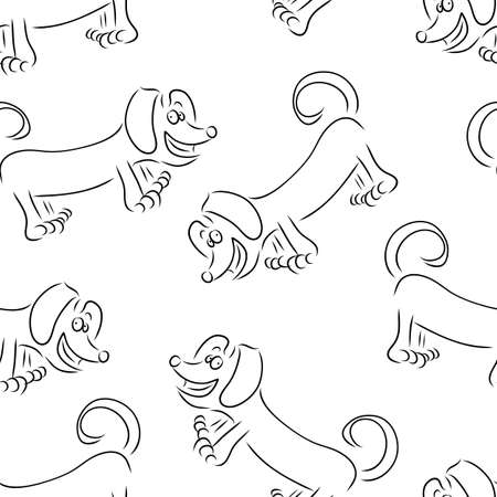 perro Dachshund esquema de vectores sin fisuras patr�n de ilustraci�n