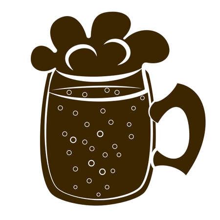 quart: beer mug silhouette vector Illustration
