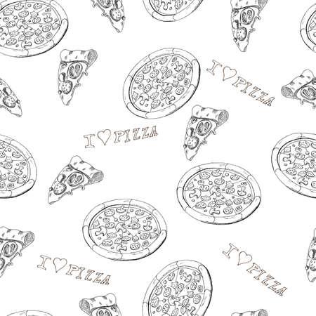 シームレスなピザ  イラスト・ベクター素材