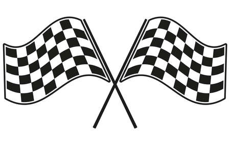 sports race emblem: checkered flag racing Illustration