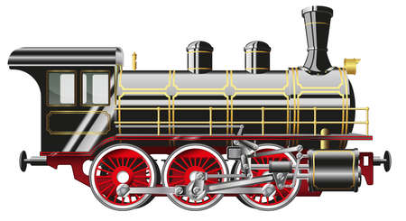 railway history: steam locomotive Illustration