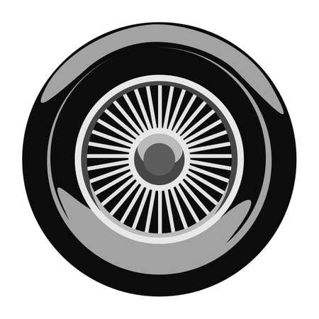 caravans: Retro car wheel. Illustration