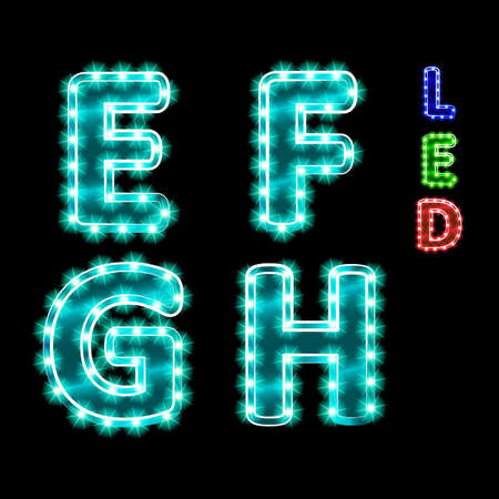 vector set of led illuminated letters. illustration clipart