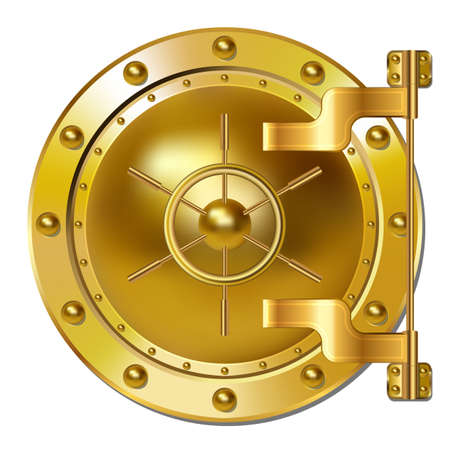 bank vault: Gold Bank vault door