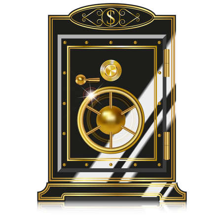 safe with money: Antique safe. Vector illustration isolated on white background
