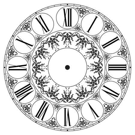 Orologio vettoriale su bianco. Illustrazione clip art Archivio Fotografico - 37576763