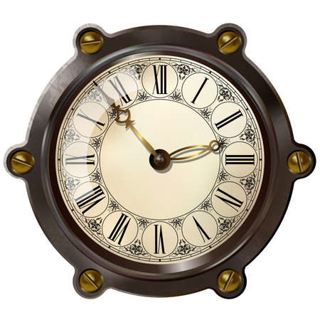 clock icon: Ancient clock in the style of steampunk