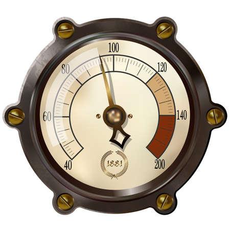 Dispositivo de medición antigua en el estilo del steampunk Ilustración de vector