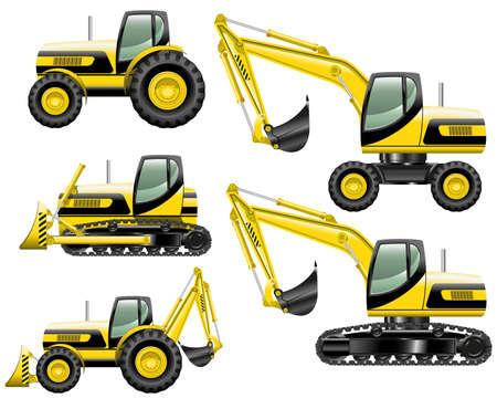 crawler tractor: Construction machines Illustration