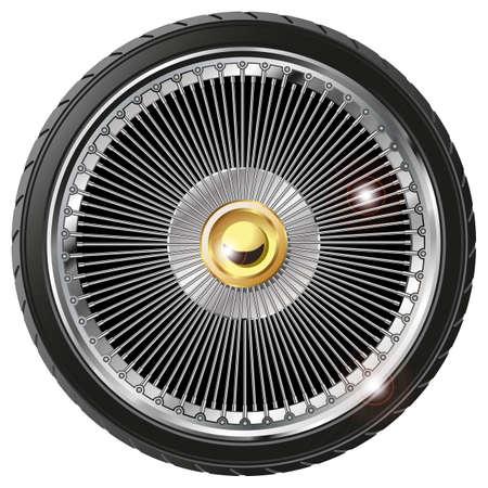 Retro wheel with spokes isolated on white background