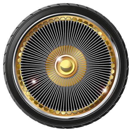 spokes: Retro rueda con radios aislado en fondo blanco Vectores