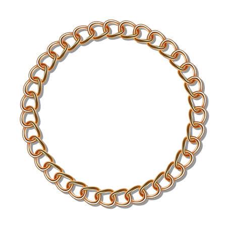 円の形をしたゴールドのチェーン。グラデーション メッシュ