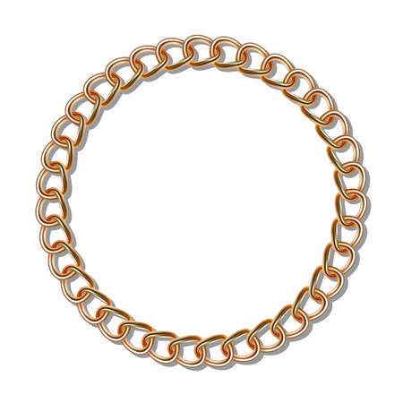 gold chain: Gold chain in the shape of a circle. Gradient mesh Illustration