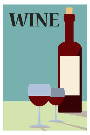 Bottle of wine and glasses. Poster in vintage style