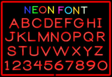 alphabet letters: Set of neon letters and numbers.  Illustration